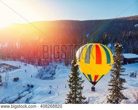 Panorama Sheregesh Ski Resort In Winter, Landscape On Mountain And Balloon, Aerial Top View Kemerovo