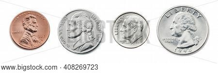 A Quarter, Dime, Nickel, Penny. The Most Common Used American Coins. Collection Of Us Coins In The U