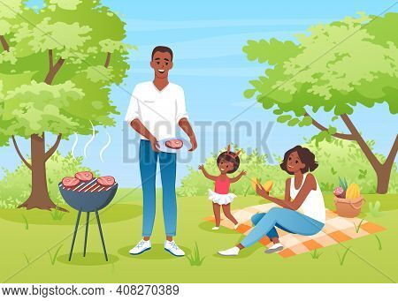 Happy Family People On Bbq Picnic, Mother Father And Girl Characters Have Fun Together