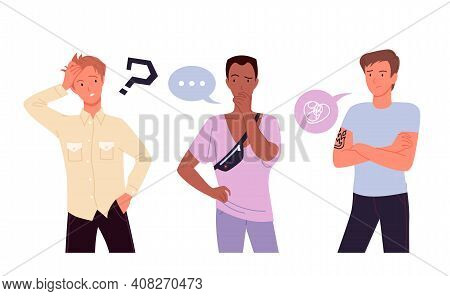 People Think Set, Confused Young Guy Characters Standing And Thinking With Question Mark