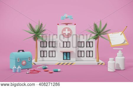 Hospital Building With Medical Equipment In Pink Composition ,concept 3d Illustration Or 3d Render