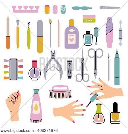 Manicure Salon Items. Polish Nails Pedicure Tools In Beauty Salon For Women Haircut Tweezers Vector