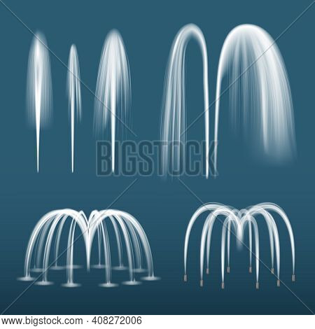 Fountain Realistic. Decorative Water Splashes Spray Liquids From Fountain Jet Vector Templates Colle