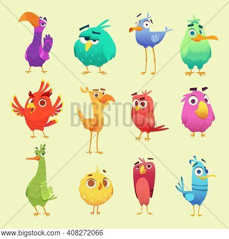 Cute Cartoon Birds. Funny Circle Owls Cheerful Animals With Emoticons Exact Vector Characters. Owl B