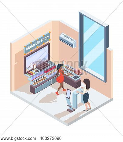 Cosmetic Shop. Boutique Interior For Beauty Retail Shelves With Makeup Cosmetics Shadows Lipstick Co