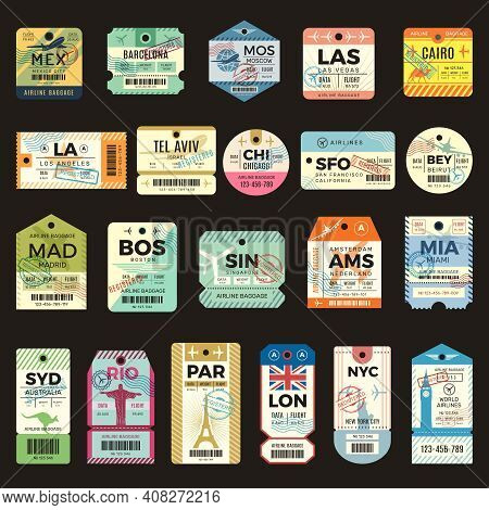 Retro Travel Tickets. Vintage Tags For Flight Plane Luggage Ticket Recent Vector Collection Set. Ill