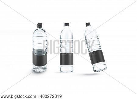 Blank Transparent Plastic Bottle With Black Label Mockup, Different Views, 3d Rendering. Empty Liter