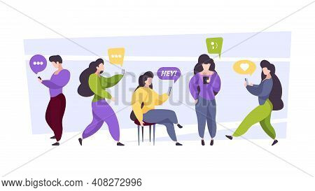 People Chatting. Online Dialogue Persons With Gadgets Group Of Characters Holding Smartphones Readin