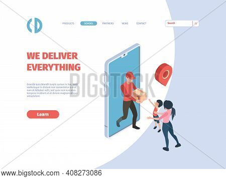 Delivery Courier. Postmen Order Person Holding Product Cardboard Express Delivery Concept E-commerce