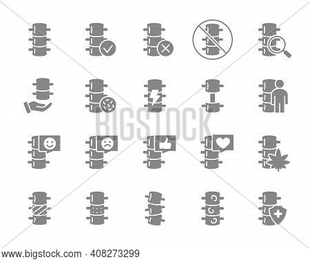 Set Of Human Spine Grey Icon. Healthy Vertebral Column, Spinal Canal Illness Diagnosis, Treatment Sy