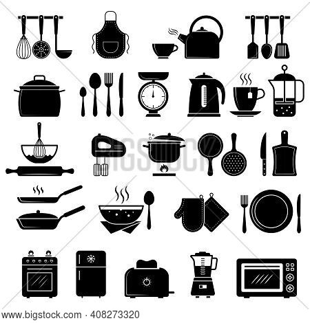 Kitchen Icon. Food Cooking Utensils Whisk Stove Knife Silhouettes Recent Vector Symbols. Utensil Sil