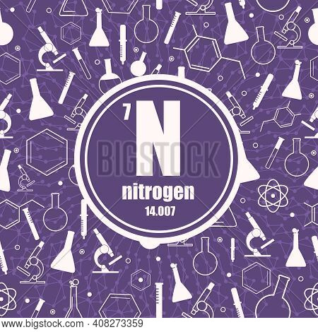 Nitrogen Chemical Element. Sign With Atomic Number And Atomic Weight. Chemical Element Of Periodic T