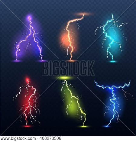Realistic Bolt. Electricity Colored Symbols Danger Glowing Light Electric Lamp Decent Vector Set. Il