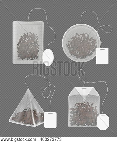 Tea Bags. Green And Black Tea For Relax Time Decent Vector Realistic Template. Illustration Tea Bag