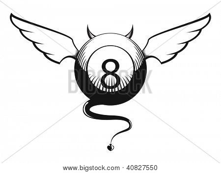Vector illustration of devil eight ball with horns, wings and tail