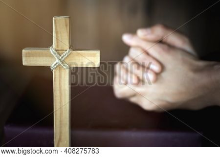 The Cross And The Hand Were Making A Wish. The Idea Of Praying For Blessings From Jesus God. Faith I
