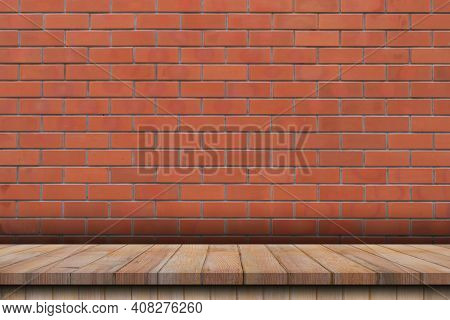 Empty Wood Table Over Red Brick Wall Background, Product Montage Display Background