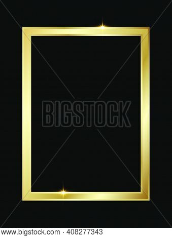 Golden Shiny Glowing Rectangle Frame Isolated Over Black Background. Gold Metal Luxury Blank Rectang
