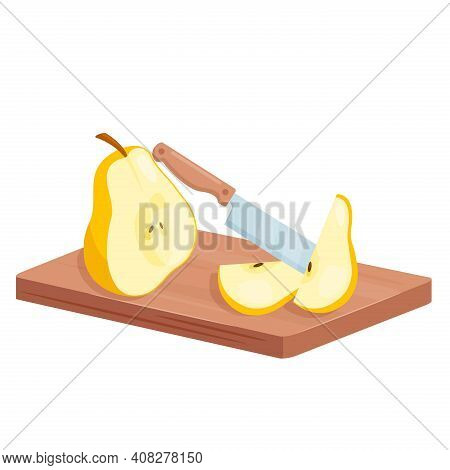 Cut Pear Fruit Slices, Isometric Half And Sliced Pear And Knife In Cooking Food Process