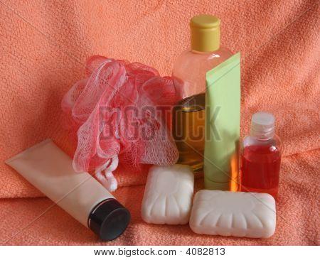 Toiletries On Pink Towel