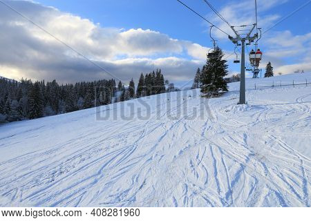 ski chair lift in a ski resort in the carpathians, Ukraine, Izki