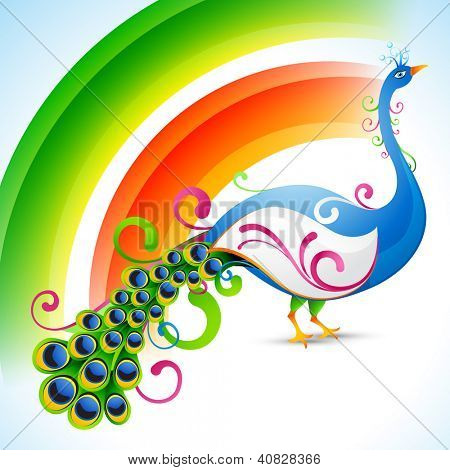 vector peacock design with rainbow style background