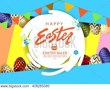 Composition With Easter Eggs, Abstract Round White Frame, Oblique Curtains In Blue And Yellow