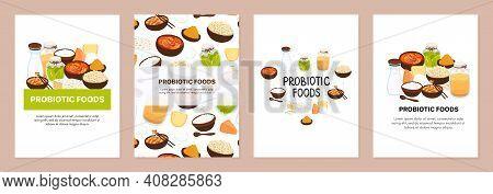Set Of Backgrounds With Probiotic Foods. Best Sources Of Probiotics. Beneficial Bacteria Improve Hea