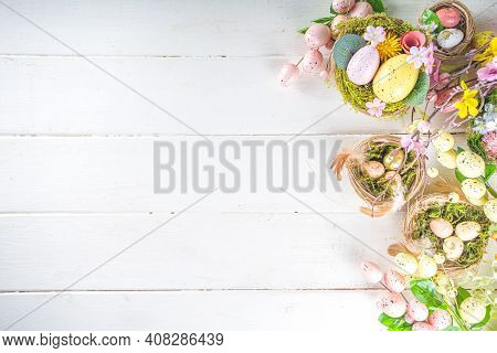 Easter Eggs And Spring Flowers Background