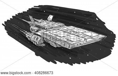 Sci-fi Spaceship Or Spacecraft Design, Concept Art Illustration. Space Ship Or Craft Flying. Black A