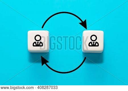 Human Resource Management And Recruitment Concept. Job Rotation Or Staff Turnover Icon.