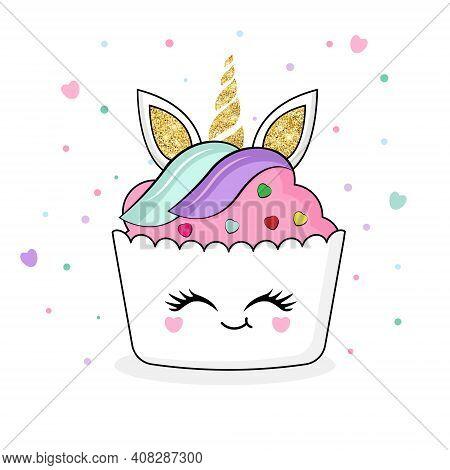 Cute Unicorn Cupcake. Cartoon  Illustration Isolated On White Background.