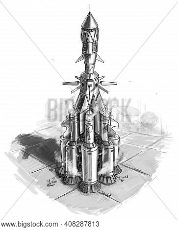 Sci-fi Spaceship Or Spacecraft On Alien Planet Star Port, Design Or Concept Art Drawing Or Illustrat