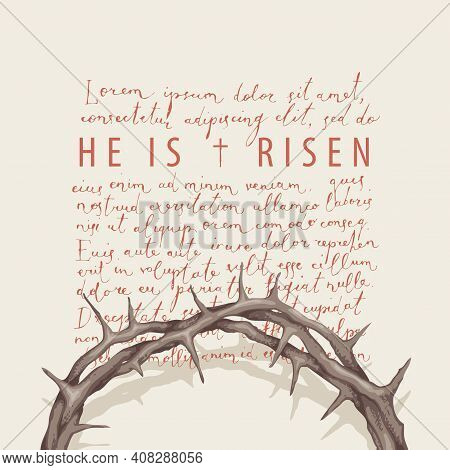 Vector Banner Or Greeting Card On The Easter Theme With Words He Is Risen. Religious Illustration Wi