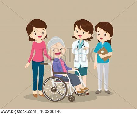 Doctor And Elderly Female Patient Recovered From Illness.happy Old Woman In A Wheelchair And Female