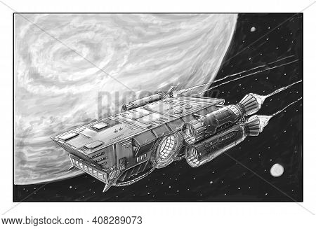 Sci-fi Spaceship Or Spacecraft Design, Concept Art Illustration. Space Ship Or Craft Flying Near Pla
