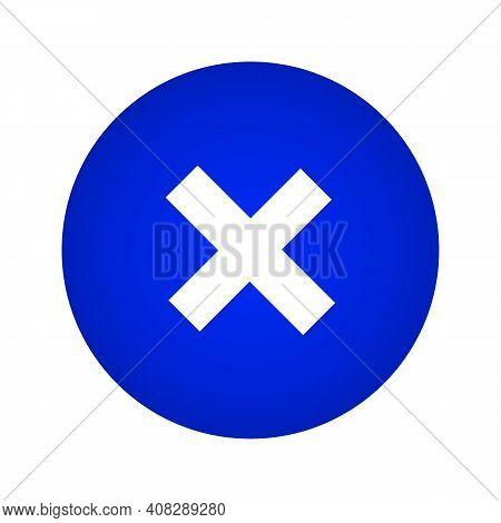 Close Icon. Close Button On A Blue Gradient Circle Shape. Vector Illustration. Vector Illustration