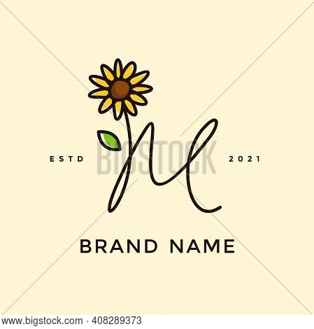 Beauty And Charming Simple Illustration Logo Design Initial M Combine With Sun Flower.