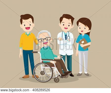 Doctor And Elderly Male Patient Recovered From Illness.happy Old Man In A Wheelchair And Female Doct