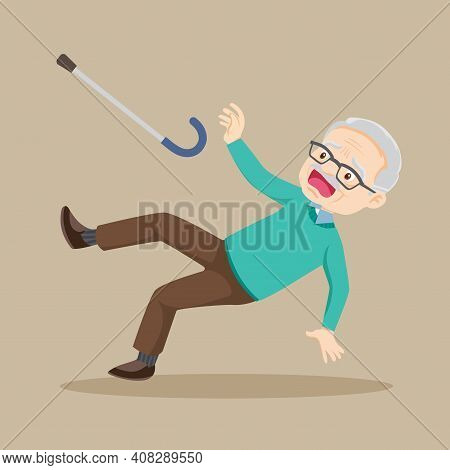 Elderly Slip And Falling On The Wet Floor. Elderly Man Have Accident Tripping. Clumsy Grandfather