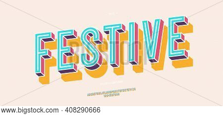 Vector Festive Font 3d Bold Colorful Style Modern Typography For Infographics, Motion Graphics, Vide