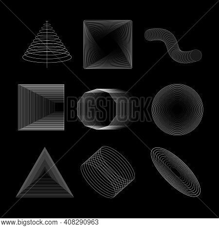 Vector Geometric Shapes Set. Abstract Shapes. Brutal Design Elements. Abstract Blended Geometric Obj