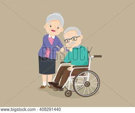 Elderly Man Sit In A Wheelchair And Elderly Woman Tenderly Puts  Hands On Her Shoulders. Grandmother