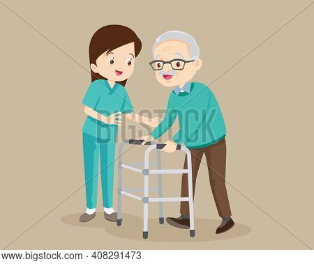 Nurse Or Volunteer Worker Taking Care Of An Elderly Man.woman Caring For The Elderly .nurse Helps He