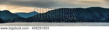 Ocean Bay Panoramic Landscape With Residential Houses On The Shore