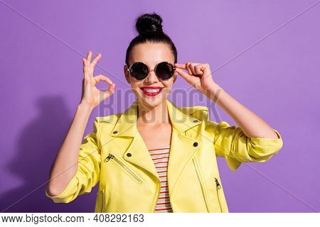 Photo Of Young Happy Smiling Beautiful Girl Woman Female Showing Okay Sign Tough Sunglasses Isolated