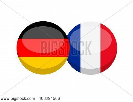 German And French Flag Isolated On White Background. Deutsch- Frenchconversation Concept. Learn Lang