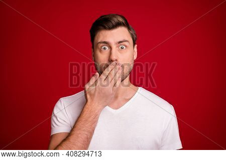 Photo Portrait Of Shocked Surprised Guy Keeping Secret Closed Mouth With Hand Staring Isolated Vibra