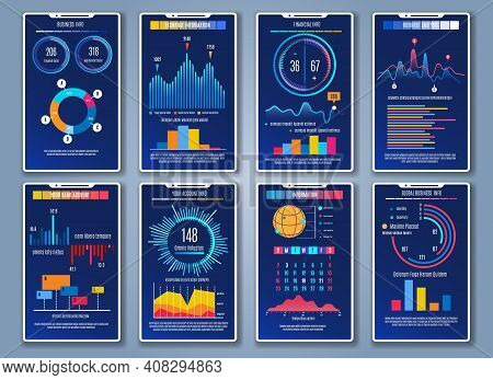 Mobile Charts Cards. Phone Infographic Graph And Chart Dashboards, Info Dashboard Backgrounds Concep