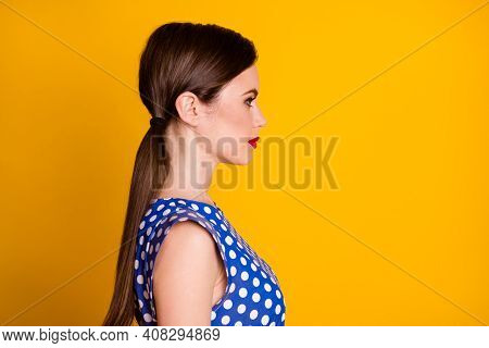 Close-up Profile Side View Portrait Of Her She Nice Attractive Pretty Lovely Winsome Lovable Content